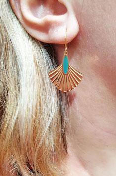 Boucles d'oreilles Art Déco Doré Vert