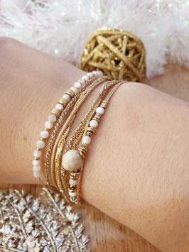 Bracelet multi-rangs Iseult Doré Blanc