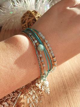 Bracelet multi-rangs Iseult Doré Turquoise