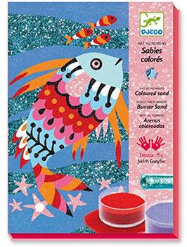 Farbenfrohe Fische Sandbild