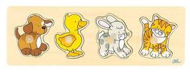 Steckpuzzle - Hund, Ente, Hase und Katze
