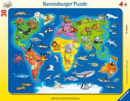 Weltkarte mit Tieren - 30 Teile