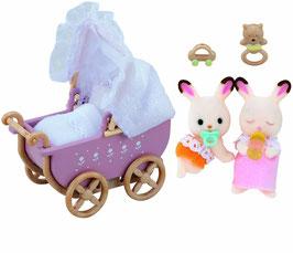 Schokoladenhasen  -Baby Zwillinge mit Kinderwagen