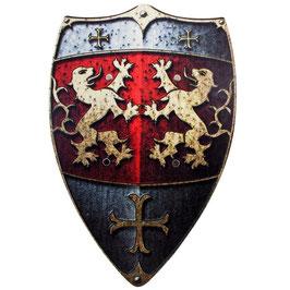 Ritter-Schild Löwen, Holz Bunt, 2 Ledergriffe