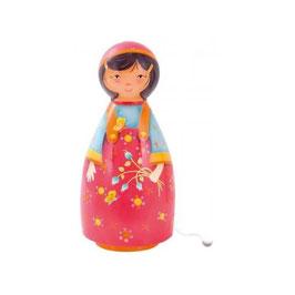 Lampe Musicale Fille aux Fleurs / Lampe mit Spieluhr - Blumenmädchen rotes Kleid