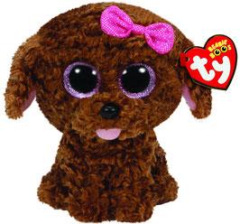 Maddie Hund braun mit Harrschleife Zunge raus  - 15 cm