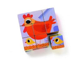 Würfel Puzzle - 9 Teile Hahn
