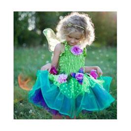 Feenkleid grün mit Flügeln - M - 4-6 Jahre
