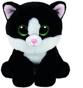 Ava - Katze mit Glitzeraugen - Beanie Classic 15 cm. schwarz mit weißtname