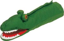 Handpuppe Krokodil dunkelgrün