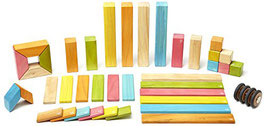 Holzset farbig 42-teilig Magnetische Holzbausteine
