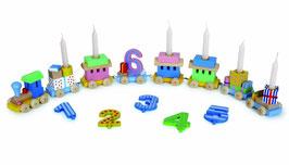 Geburtstagszug mit Geschenkpaketen