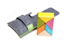 Holzprisma farbig - Magnitische Bausteine 6 Teile mit Säckchen