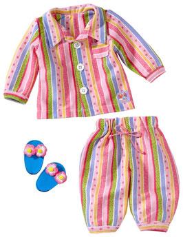 Pyjamaset mit Pantoffeln für Puppe gr. 35-46