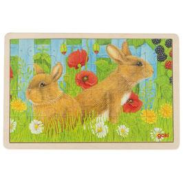 Einlegepuzzle Hase - Unser Kaninchen im Garten