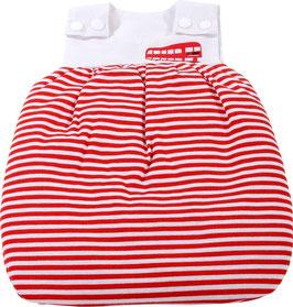 Schlafsack red stripes - passend für Puppengrößen 30 - 33 cm