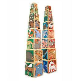 Holz Stapelwürfel Tiere - 8 Holzwürfel