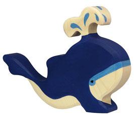 Blauwal mit Wasserfontäne