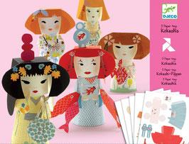 Papierkunst Kokeshi Puppen