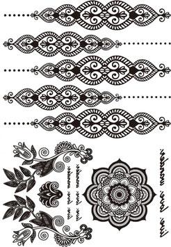 Tatouages temporaires dentelle noire (9N) 21 cm X 15 cm