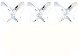 3 Papillons PETITS Cristal BLANC (Hauteur 11 mm. Largeur 12 mm)