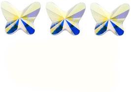 3 Papillons PETITS Cristal IRISE (Hauteur 11 mm. Largeur 12 mm)