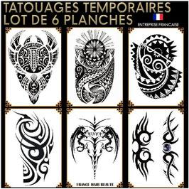 Tatouages temporaires NOIR (lot No.9) 6 planches 21 cm X 15 cm