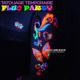 2 PLANCHES DE TATOUAGES TEMPORAIRES FLUO DIFFERENTES (LOT 0112) 21cm X 15cm