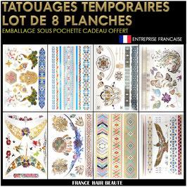8 Planches tatouages temporaires métalliques (LOT2) 21cm X 15cm