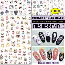 400 sticker ongles theme Chats sur 4 planches. Posez, pressez et passez du vernis transparent. Violet