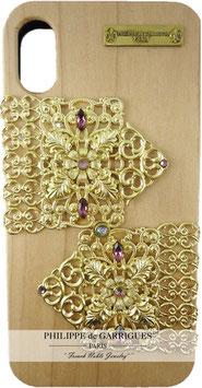 Coque iPhone X de luxe en bois véritable, filigrane et ornés de cristaux SWAROVSKI rose et violet【THE GOLDEN COACH】