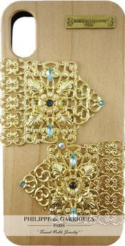 Coque iPhone X de luxe en bois véritable, filigrane et ornés de cristaux SWAROVSKI bleu clair【THE GOLDEN COACH】