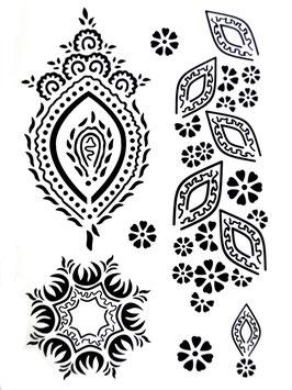 Tatouages temporaires dentelle noire (J028) 21 cm X 15 cm