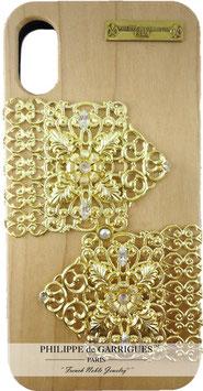 Coque iPhone X de luxe en bois véritable, filigrane et ornés de cristaux SWAROVSKI blanc【THE GOLDEN COACH】