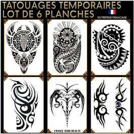 6 Planches Tatouages temporaires noirs (LOT9) 21cm X 15cm