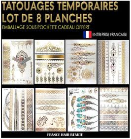 8 Planches tatouages temporaires métalliques (LOT0) 21cm X 15cm