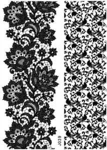 Tatouages temporaires dentelle noire (J039) 21 cm X 15 cm
