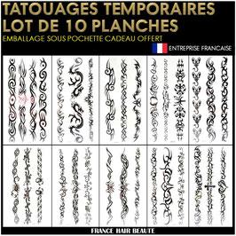 10 Planches tatouages temporaires noirs (LOT6) 20cm X 12cm