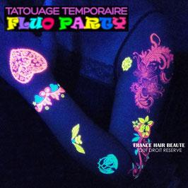 2 PLANCHES DE TATOUAGES TEMPORAIRES FLUO DIFFERENTES (SSD8607TD8627) 21cm X 15cm