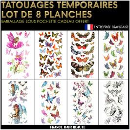 8 Planches tatouages temporaires couleurs (LOT5) 20cm X 12cm
