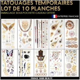 10 Planches tatouages temporaires métalliques (LOT3) 20cm X 12cm