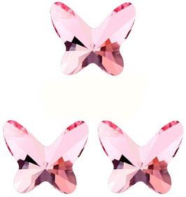 3 Papillons MOYENS Cristal ROSE (Hauteur 18 mm. Largeur 18 mm)