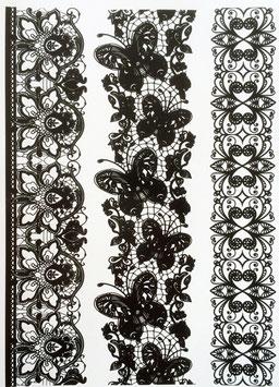 Tatouages temporaires dentelle noire (14N) 21 cm X 15 cm