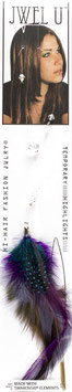 Fils nylon plumes VIOLET strass CRISTAL BLANC HB2005