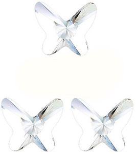 3 Papillons MOYENS Cristal BLANC (Hauteur 18 mm. Largeur 18 mm)