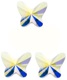3 Papillons MOYENS Cristal IRISE (Hauteur 18 mm. Largeur 18 mm)