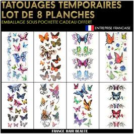 8 Planches tatouages temporaires couleurs (LOT7) 20cm X 12cm