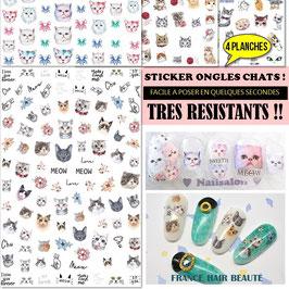400 sticker ongles theme Chats sur 4 planches. Posez, pressez et passez du vernis transparent. ROSE