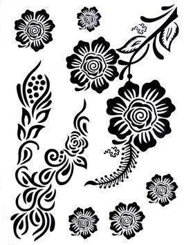 Tatouages temporaires dentelle noire (J030) 21 cm X 15 cm