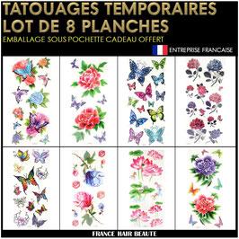 8 Planches tatouages temporaires couleurs (LOT4) 20cm X 12cm